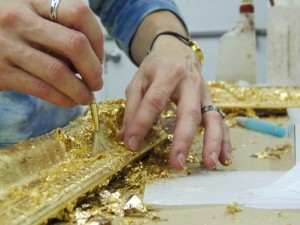 Gold leafing a closed corner frame