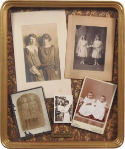 Marble paper placed behind photographs or antique prints